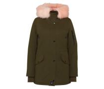 Winterjacke mit Fake Fur Besatz khaki / rosa