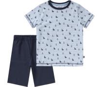Schlafanzug für Jungen blau / hellblau / weiß