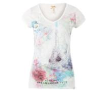 Shirt mit Peace-Zeichen aus Pailletten 'Amy' dunkelblau / rosa / weiß