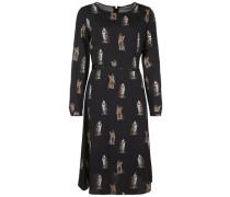 Kleid mit Katzen-Muster braun / schwarz