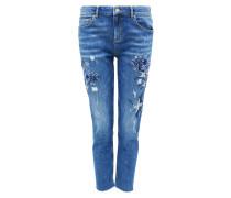 Boyfriend-Jeans mit Stickerei blue denim