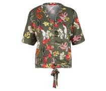 Knoten-Shirt oliv / rot / weiß