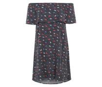 Kleid mit Carmenkragen dunkelblau / rot / weiß