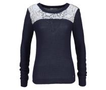 Pullover mit Einsatz aus Spitze blau