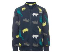 Sweatshirt mit Reißverschluss 'nitgewi' blau / navy / gelb