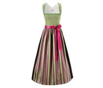Dirndl mit besticktem Oberteil hellgrün / pink / schwarz