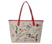 Shopper 'I Love You' beige / rot