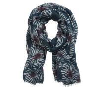 Schal mit floralem Allover Muster rauchblau