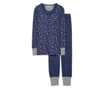 Schlafanzug 'Esther Cas' navy / weiß
