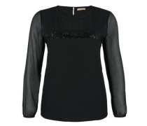Festliche Fabric-Mix-Bluse schwarz