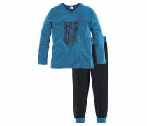 Langer Pyjama mit kontrastfarbenen Bündchen himmelblau / schwarz