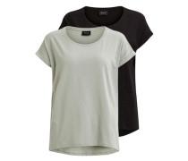 Einfaches T-Shirt (2er-pack) hellgrau / schwarz