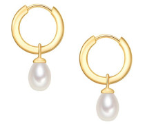 Silber-Creolen mit Perlenanhänger gold / naturweiß