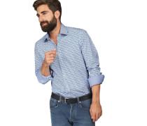 Businesshemd 'Level 5 body fit' blau / weiß