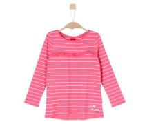 Ringelshirt mit Blusen-Detail pink / weiß