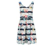 Kleid 'Tropical Stripe' weiß / blau / mischfarben