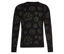 Sweatshirt 'Crew neck sweat with paisley print' schwarz