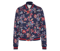 Sweat-Jacke 'Flower' blau / rot