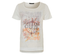 T-Shirt mit gewebtem Einsatz 'Berry' weiß / mischfarben