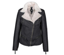 Jacke mit Fellimitat und asymetrischen Reißverschluss ' Ferraz ' schwarz