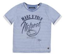 Junior T-Shirt 1/4 Armlänge Miniringel Jungen Kinder marine / weiß