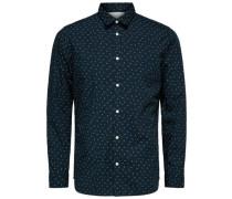 Slim-Fit-Langarmhemd nachtblau / weiß