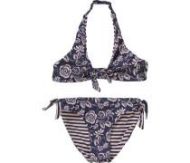 Kinder Wende-Bikini hellbeige / dunkelblau