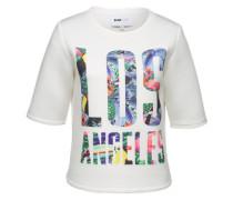Scuba-Sweater mit LA-Print weiß