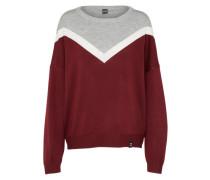 Pullover 'Vicky' grau / burgunder / weiß