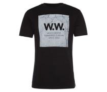 T-Shirt mit Front-Print 'Concrete square' schwarz