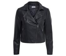 Lederlook-Jacke schwarz