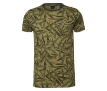 T-Shirt 'mix & match printed patterns' dunkelgrün