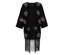 Kimono-Jacke aus Samt mit Stickerei schwarz