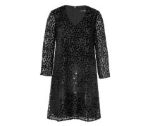 Jacquard-Kleid mit Samt-Tupfen schwarz