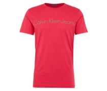 T-Shirt mit Logo-Print grau / pink