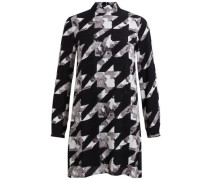 Langärmeliges Kleid grau / schwarz