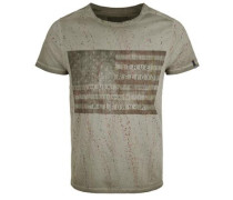 T-Shirt American Flag Dusty oliv