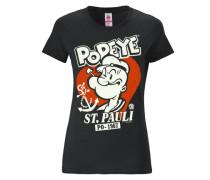 """T-Shirt """"Popeye der Seemann"""" schwarz"""