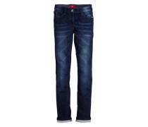 Used-Jeans mit Nieten blau