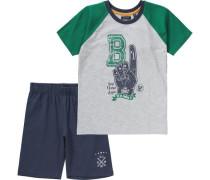 Set T-Shirt + Shorts für Jungen dunkelblau / graumeliert / grün / weiß
