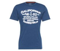 T-Shirt 'placement' marine / weiß