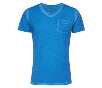 T-Shirt mit V-Ausschnitt blau