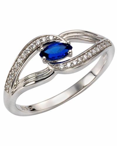 Fingerring blau / silber