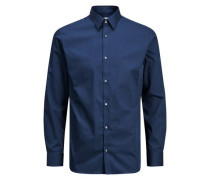 Langarmhemd bügelfrei blau
