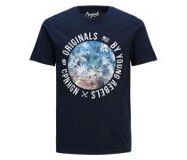 Bedrucktes Slim-Fit-T-Shirt hellblau / dunkelblau / weiß