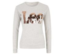 Sweatshirt mit Pailletten-Logo bronze / graumeliert