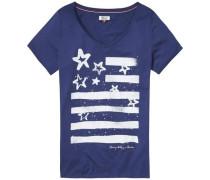 Bluse 'thdw VN T-Shirt S/S 16' blau / weiß