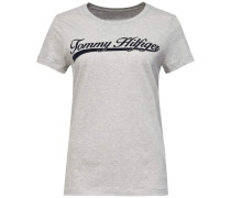 T-Shirt 'script' mit Print grau