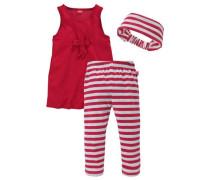 Kleid Leggings & Haarband (Set 3-tlg.) rot / weiß