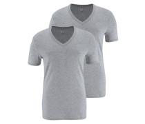 T-Shirt 'Base V T' im 2er Pack graumeliert